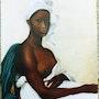 African woman in wheelchair. Peint La Vie