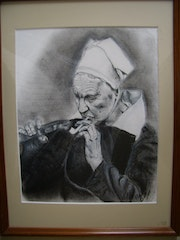 Brittany old woman with a pipe.