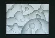 Parallel Worlds, Zeichnung in Bleistift und Feder auf Karton, abstrakte, minimalistische. Morgan Alfaro