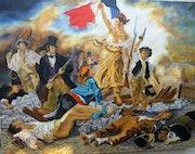 La liberté guidant le peuple (copie du celebre tableau, d'eugéne delacroix).