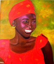 Jeune béninoise vêtue de rouge.