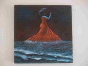 Flamenco nocturno sobre las olas del Mediterráneo.