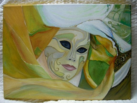 Masque en vert et jaune.