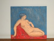 Une femme se relaxant sur un drap rouge. Roland Bigey