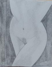 Debora nu artistique au fusain.