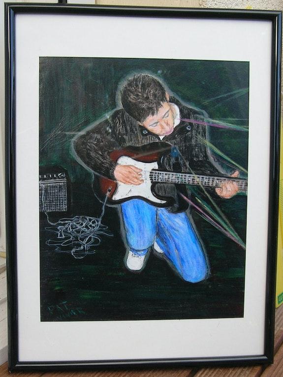 Sébastien et sa guitare.  Patricia Vivier Robert » Pat V »