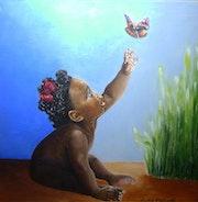 La petite fille et le papillon.