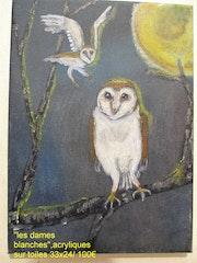 «Dames blanches» animalier naïf, représentant 2 chouettes effraies ambiance noct. Arnaud Berterreix