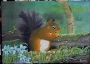 L'écureuil qui se fait plaisir aux figues.