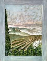 Paysage Toscan, fenêtre, oiseau, pigeon, fer forgé, balcon, perspective, vigne. Anne M.