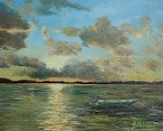 Crépuscule sur le delta du Po. Peintre