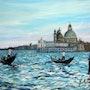 Gondoles- Huile sur toile. Peintre