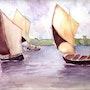 Bateaux voguant sur un lac. Marie-Noel Toulon