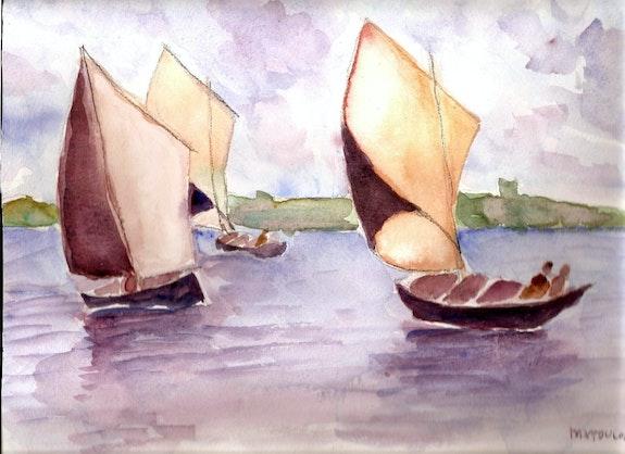 Bateaux voguant sur un lac. M. N. Toulon Marie-Noel Toulon
