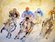 Course de chevaux dans la neige.