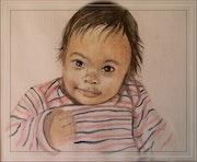 Portrait de petite Loane à 3 mois. Françoise-Elisabeth Lallemand