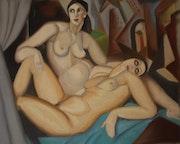 «Les Deux Amies» d'après T. De Lempicka.