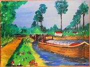 «La péniche sur le canal».