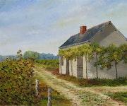 Maison de vigne-Huile sur toile de lin peinte au couteau.