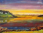 Paysage du golfe au coucher du soleill.