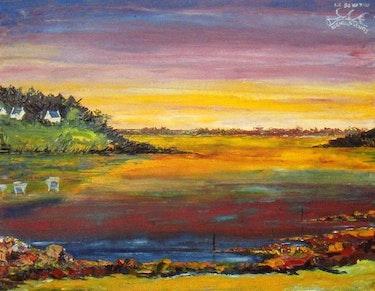 Paysage du golfe au coucher du soleill. Michel Fleury
