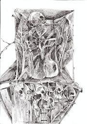 Chaise et squelette.