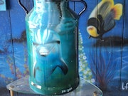 Milk jug painted with an airbrush.