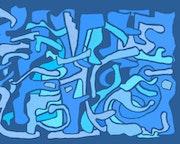 Blau Torsion Giclée-Druck von der Künstlerin signiert.