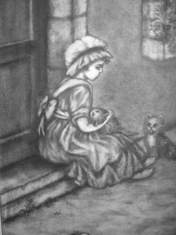 Petite fille et son chat malade…. Janéon Janeon