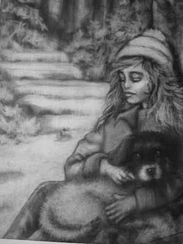 Petite fille et son chien. Janeon