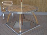 Table de convivialité bois et inox. Ludosculpture (Ls)