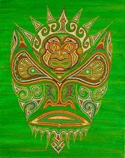 Tiki Maohi en pointillisme aborigène. Julien Gongora
