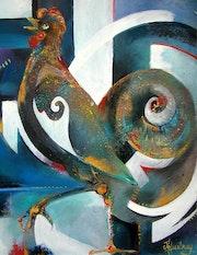 Le coq (acrylique sur bois).