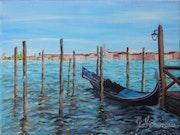 Grand Canal-Huile sur toile peinte à la brosse.