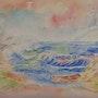 Paysage marin. (Aquarelle et plume). Ghislaine Phelut