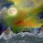 La lune protège la gabarre. Max Parisot Du Lyaumont