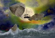 La lune protège la gabarre Tableau 2. Max Parisot Du Lyaumont