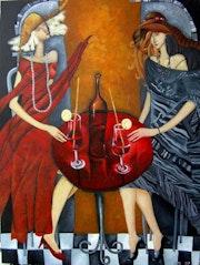 Tet tet un - Original Illustration abstraite moderne Peinture Décoration.