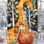 City jungle - Large Original Wall Art Mixed Media Artwork Painting. Yelena Art Studio