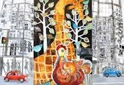 Jungle Ville - Grand Art originale mur Mixed Media Artwork Peinture.