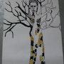 La femme tronc, encre de chine, acrylique. Chriskaliko