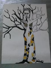La femme tronc, encre de chine, acrylique.