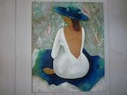 Femme assise, huile et sable.