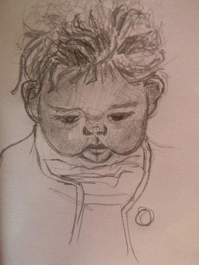 Petite Loane prenant son premier cours de dessin.. Françoise -Elisabeth Lallemand Françoise-Elisabeth Lallemand