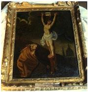 Tableau XVII eme crucifixion christ colgotha marie au pied de la croix vanite. Cedric Colpaert