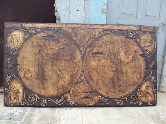 Placa pintada en madera novaterra. Omar Barrientos Omar Francisco Barrientos