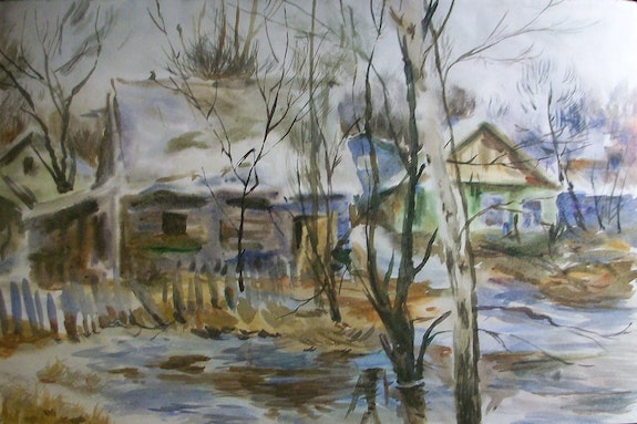 Old russian house watercolor.  Myart/Gallery