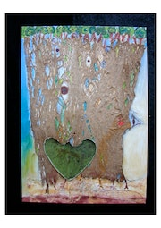 Homage a Hundertwasser acrylic on canvas and bark of mulberry.