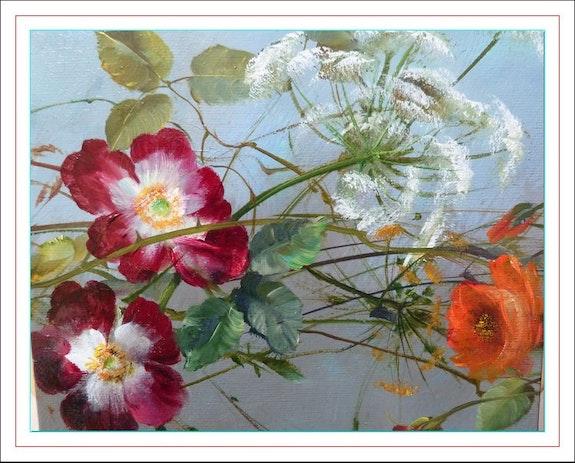 Symphony of nasturtium and roses (triptych) 2.  Monique Martin
