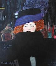 Die Dame mit dem Hut noir_d'après Klimt. Clara Niniewski